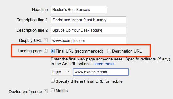 谷歌Adwords里的目标地址将被替换